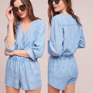 Anthropologie Cloth & Stone Floral Chambray Romper